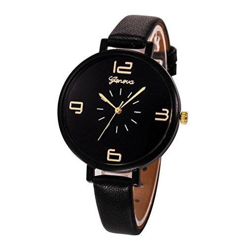 Damen Uhren,Beikoard Frauen 2018 Casual Checkers Faux Leder Quarz Analoge Armbanduhren (Schwarz)
