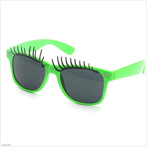 Yiph-Sunglass Sonnenbrillen Mode Große Augenwimpern Fanci-Frame Erwachsene Kinder Sonnenbrillen Strand Fahren Ferien Angeln Party (Farbe : Grün)