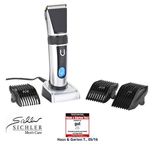 Sichler Men\'s Care Digitaler Akku-Haartrimmer mit 2-Klingen-System, Display, Ladestation