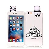 Leton Cover iPhone 6s Silicone 3D Panda Bianca Morbido TPU Gel Custodia iPhone 6 Apple Antiurto Ultra Sottile Flessibile Gomma Case Protettiva Bumper Candy Copertura iPhone 6s 3D Papa