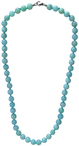 Kaltner Präsente–Regalo Idea–Collar cadena de bolas para mujer mujeres de la piedra preciosa Amazonita 50cm de largo individualmente anudado 8mm con cierre de mosquetón