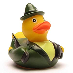 Duckshop I Badeente I Quietscheente I Lustige Badeente Jäger – Quietscheentchen mit Gewehr, Feldstecher und Jagdhorn – Geschenk für jeden Jäger – Jagd – inkl. Badeenten-Schlüsselanhänger im Set