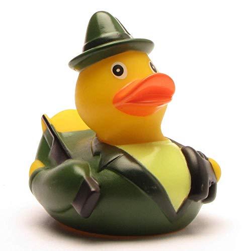 Duckshop I Badeente I Quietscheente I Lustige Badeente Jäger - Quietscheentchen mit Gewehr, Feldstecher und Jagdhorn - Geschenk für jeden Jäger - Jagd