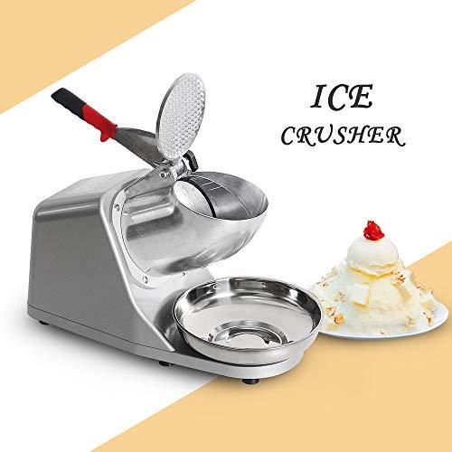 Tritaghiaccio professionale, ice rasoio elettrico in acciaio inox, snow cone maker macchina per gelato, bibite, dessert di frutta e cocktail per uso domestico commerciale utilizzo estivo