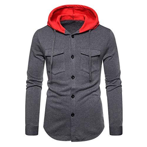 Xmiral Kapuzenpullover Herren Patchwork Einfach Langärmeliges Hoodie Sweatshirt mit Tunnelzug Herbst Sports Outdoor Tops Pullover(a Dunkelgrau,L) (Lederhosen Kostüm London)