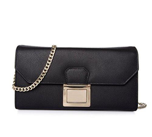 Frauen-echtes Leder-Beutel Kleine / Mikro-Kreuz-Körper-Schulter-Beutel-Handtaschen-Kupplungskette (7 Farben) Black