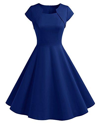HomRain Damen 50er Vintage Retro Kleid Party Kurzarm Rockabilly Cocktail Abendkleider Royal Blue XS