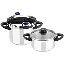 BRA Facile - Set duo de ollas a presión rápidas, 4 y 7 litros, de fácil apertura, acero inoxidable 18/10