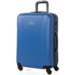 ITACA - Maleta de Viaje Rígida 4 Ruedas Trolley 65 cm Mediana de ABS. Resistente y Ligera. Mango, 2 Asas y Candado Integrado. Ideal para Estudiantes y Profesionales. 71160, Color Azul-Antracita