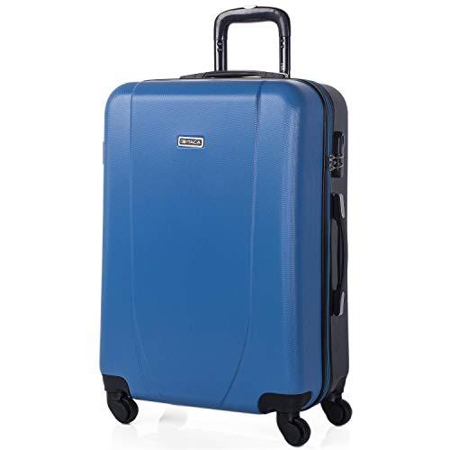ITACA - 60 cm Trolley Koffer Medium ABS Bicolor. Starre, langlebig, robust und super leicht. Teleskopgriff, 2 versenkbare Griffe. 4 Räder. Größe Medium. 71160, Color Blau-Anthrazit