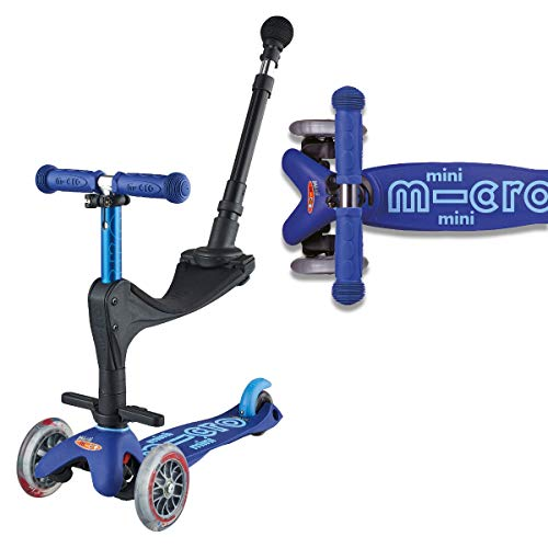 Micro Mini 3In1 Deluxe Push Along Scooter Blue Nursery Toddler Parent Handle First Scooter Boy Girl Best Price and Cheapest