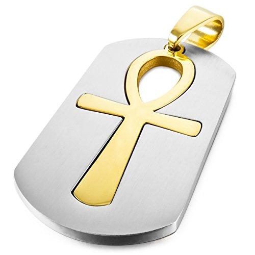 Acero Inoxidable Colgante Collar Plata Oro Dorado Dos Tono Egipcio Egipto Ankh Cruzar Cruz