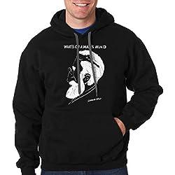 Milky Way Tshirts Hombres Sigmund Freud lo Que está en la Mente de un Hombre Ilusión óptica con Capucha X-Large Negro