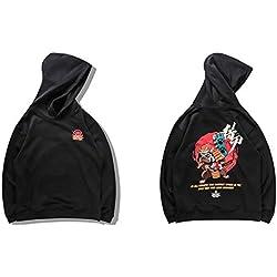 LYJLYJ Sudadera Hombres Hip Hop Bordado Perro Samurai Sudaderas con Capucha Streetwear Chino Divertido Sudaderas