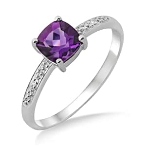Amethyst Ring, 9ct White Gold, Diamond Setting, Cushion Cut Ring, Size L, by Miore, MT023ARM