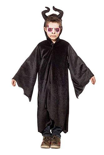 shoperama Kinder-Kostüm Dark King Robe mit diabolischen Hörnern Haarreif Teufel Satan Vampir Hexe Magier Zauberer Malecizent Halloween, Größe:140