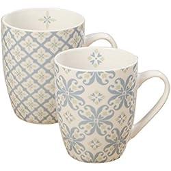 Tazas geométricas - Juego de 2 tazas - Material: porcelana - Color blanco y azul - H 8.5 cm/350ml