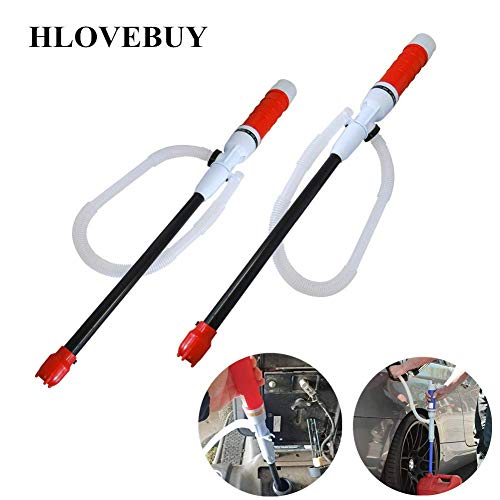 H.Yue Battery Operated Liquid Transfer Pump Transfer Siphon Pump with Bendable Suction Tube for Diesel, Fuel, Oil, Water, Gas, Fish Tank (Red 2 Pack) (Siphon Gas-tank)