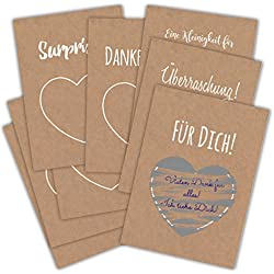 Gutscheinkarte 8 x DIN A6 Rubbelkarte Geschenkkarte rubbeln Hochzeit Geburtstag Überraschung Kraftpapier weisser Druck freirubbeln Weihnachten Gutschein Rubbelsticker