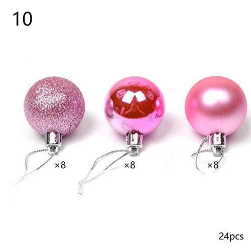 YearningH Christmas balls 24X Weihnachtskugel-Verzierungen für Weihnachtsbaum-Flitter Hängen Hauptdekoration, Plum