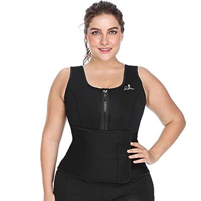 Joyshaper Sauna Vest for Weight Loss Women Sweat Slimming Suit Tummy Control Body Shaper Neoprene Waist Trainer with Adjustable Waist Trimmer Belt Fat Burner Tank Top