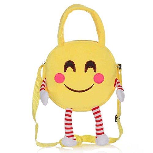 Kinder Tasche Mode Niedlich Gelb Emoji Minions Flanell Mini Handtaschen Schulbeutel Rucksack (Flanell Tasche,)