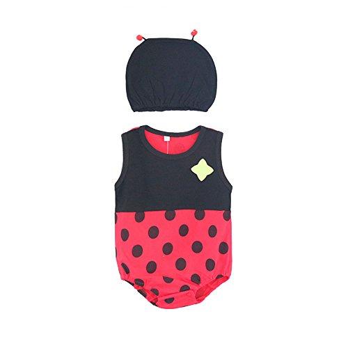 olle Overalls [ 95 Büste ] für Neugeborene Kleinkinder Jungen Mädchen Sommer Baby Marienkäfer Babykleidung (Kleid + Hut) ()