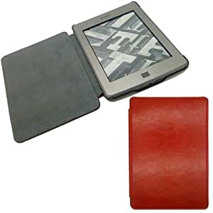 Ultra Thin Slim Smart Leather Cover Sleeve Case For Amazon Kindle Touch (Red)