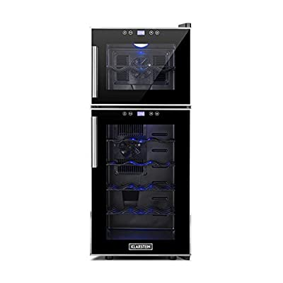 Klarstein Reserva 21 Wine Refrigerator 2 Zones (56 L, 21 Bottles, Class D, 2 Programmable Cooling Zones, Touch Operation with LCD Display) Black