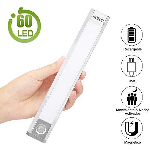 Luz LED Armario Luz Sensor Nocturna Lámpara, 60 LED Luz de Armario USB Recargable Magnético con 3...