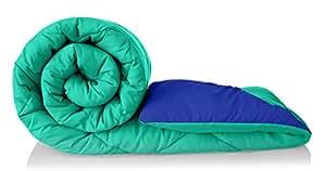 Amazon Brand - Solimo Microfibre Reversible Comforter, Single (Sea Green & Indigo Blue, 200 GSM)