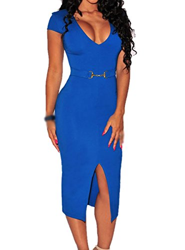 E-Girl SY60621 femme sexy robe mini Bleu