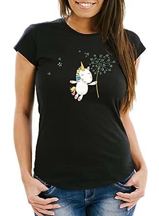 Damen T-Shirt Einhorn mit Pusteblume Unicorn with Dandelion Slim Fit Moonworks® schwarz XS