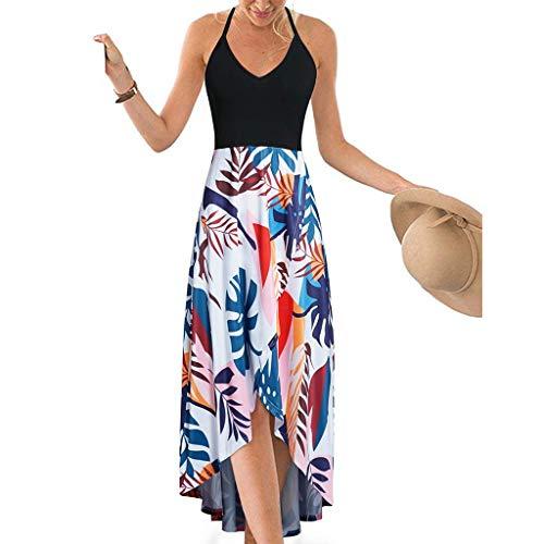 Frauen böhmischen Kleid Lady Patchwork Print Kleid Frauen V-Ausschnitt hängen Bandbreite Größe Strandkleid Spitze off-Shoulder rückenfreier Druck wellig langes Kleid Cocktailkleid einfarbig Kleid - Badeanzug Größe Charts