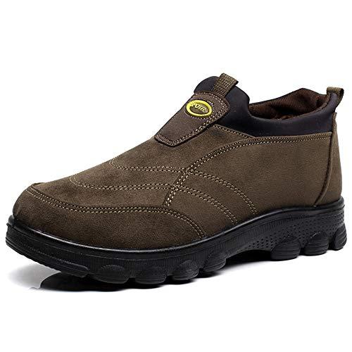 Senza marchio Scarpe da Uomo Inverno Scarpe da Uomo Comode Scarpe da Uomo Alte Antiscivolo Alte Scarpe da papà Calde di Mezza età Scarpe da Trekking (Color : A, Size : US11/EU43/UK9/CN44)