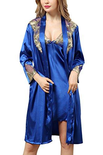 Dolamen Chemises de nuit Femmes Satin avec Kimono Robe, 2-in-1 Femmes Ensemble de Pyjama, Luxe et broderie florale sans manches chemise Chemise de nuit, Peignoir Nuisette Satin (Large, Bleu foncé)