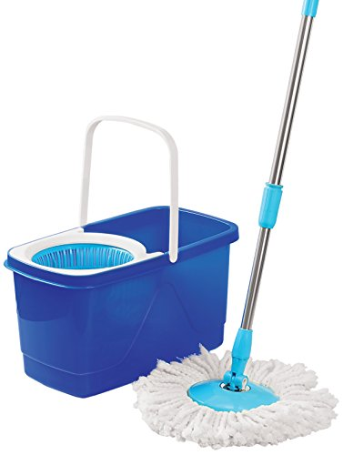 Cello Kleeno Easy Clean 360 Degree Bucket Spin Mop With 1Extra Micro Fibre Refill, Blue