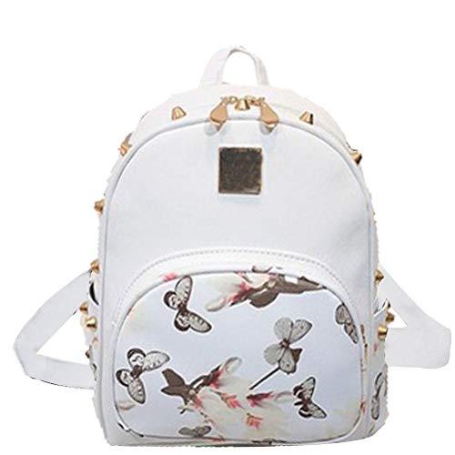 Donalworld Mädchen Blumen Schule-Beutel-Spielraum nette PU-Leder-Mini-Rucksack Weiß