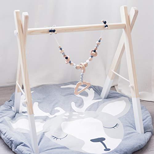 Mamimami Home 1pc Baby Holz Wolke Kinderwagen String Links Clip auf Kinderwagen Kinderwagen Beißring Halter Silikon Perlen Kinderkrankheiten Warenkorb Kette Neugeborenen Spielzeug