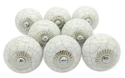 8x Weiß Crackle rund Keramik Türknauf, Vintage Shabby Chic Schrank Schublade Pull Griffe