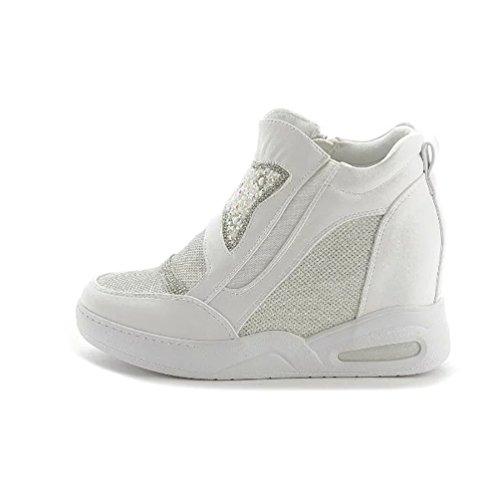 Wei Sneaker Zipper High Sneakers Wedges Top Damen Sportliche Keilabsatz n8qxC5wOwt