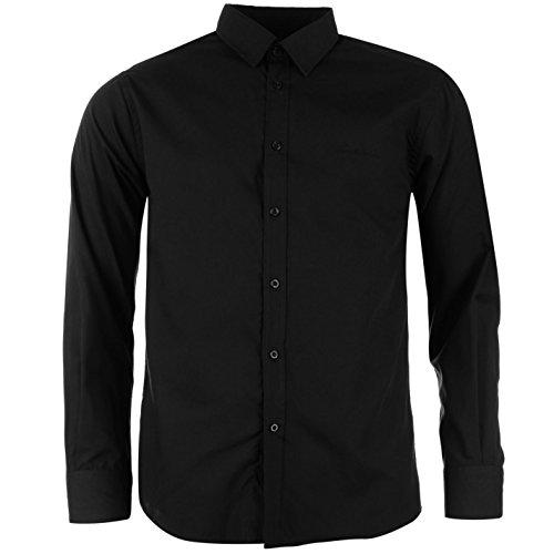 Pierre Cardin - Camisa para hombre, manga larga, cierre con botones, tiempo libre negro XXL