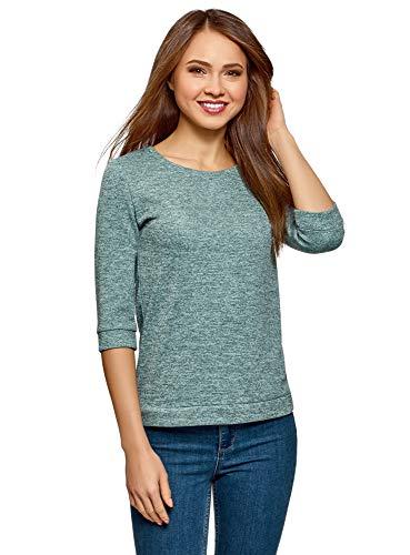 oodji Ultra Damen Sweatshirt mit Rundem Ausschnitt und 3/4-Arm, Türkis, DE 38 / EU 40 / M -