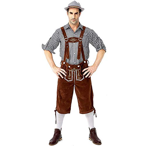 SUVIA Herren Trachten Lederhose Kurz, Trachten Hose mit Trägern, Original in Braun & Schwarz, Oktoberfest Passen mit Hut (Schwarz Anzug 1, M)