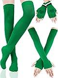 Chauffe-Bras Rayés Chaussettes Longues Extensibles Gants sans Doigts avec Trèfle Accessoire de Fête de la Saint-Patrick pour Femmes Filles, 3 Paires (Jeu de Couleur 4)