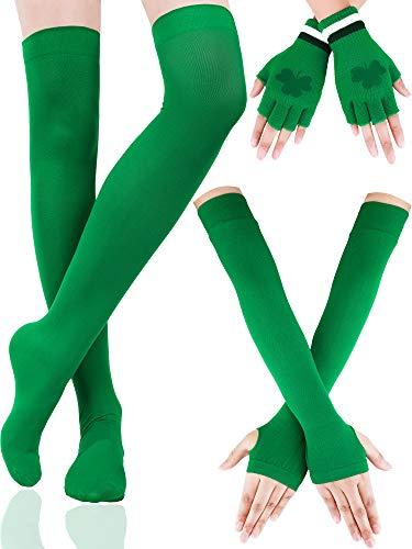 Boao Gestreifte Armlinge Lange Gestreckte Strümpfe Shamrock Fingerlose Handschuhe St. Patrick\'s Tag Party Zubehör für Damen Mädchen, 3 Paare (Farbe Set 4)