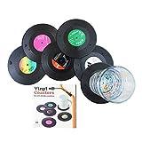 Lot de 6dessous-de-verre en forme de disque vinyle pour le café