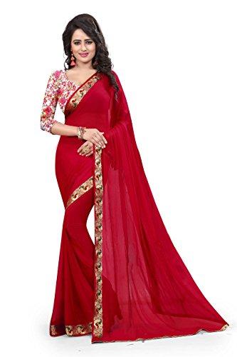 Woman style Woman's Nazneen jacquard Mango Red Sarees with Art Silk & Bhagalpuri blouse