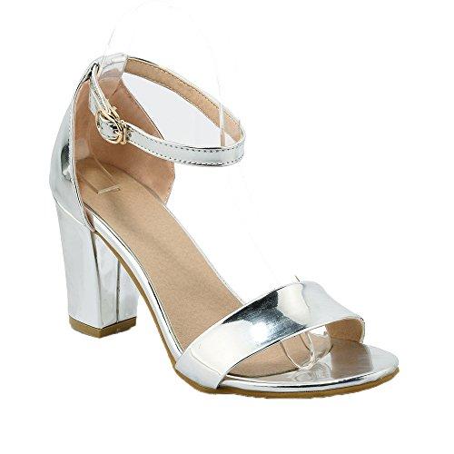 Guoar - Scarpe con cinturino alla caviglia Donna Argento