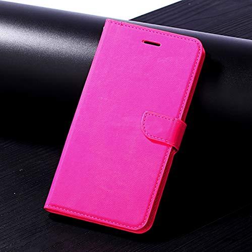 HHF Handy Zubehör Für Huawei Enjoy 7s / Huawei p smart, langlebig qualität Tuch Stoff prozess schützende Karte lagerung flip pu Leder Brieftasche case Abdeckung mit kurzen Sling (Farbe : Rose Red)